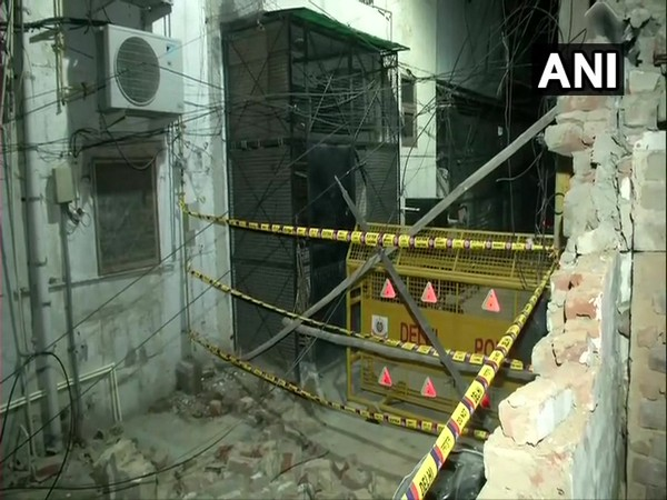 Wall of Model Eye Hospital in Lajpat Nagar collapsed on Monday. Photo/ANI