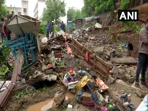 Visual of the wall collapsed in Sinhagad College campus in Pune's Ambegaon on Tuesday. Photo/ANI