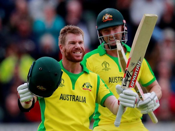 Australian opener David Warner celebrating after scoring century against Pakistan