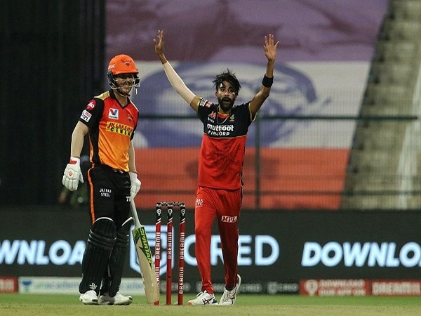 SRH skipper David Warner and RCB bowler Mohammed Siraj (Image: BCCI/IPL)