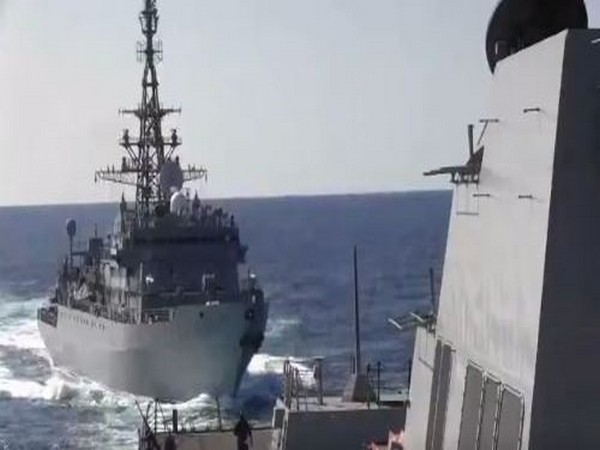 Video tweeted by US Navy 5th Fleet showing the two vessels approaching each other in the North Arabian Sea