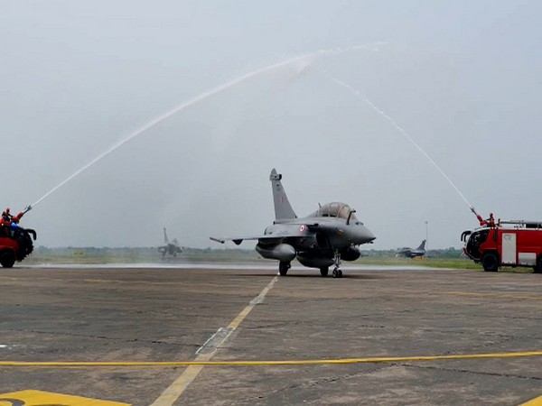 Water salute being given to the Rafale fighter aircraft after their landing at Indian Air Force airbase in Ambala on Wednesday.