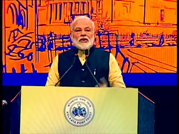 Prime Minister Narendra Modi speaking at an event of Kolkata Port Trust on Sunday.