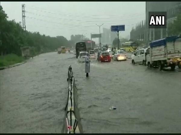 waterlogged roads of Gurgaon