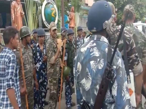 Police deployment after 60 bombs were seized in Bhatpara, West Bengal on Monday. (Photo/ANI)