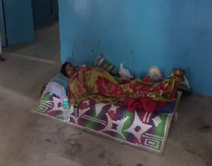 A patient lying on the floor at the North Bengal Medical College and Hospital on Wednesday in West Bengal. Photo/ANI
