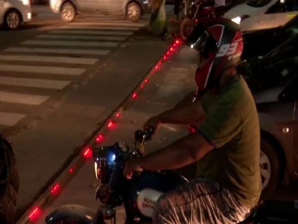 LED strip lights installed at signals by the Traffic Police in Hyderabad. Photo/ANI