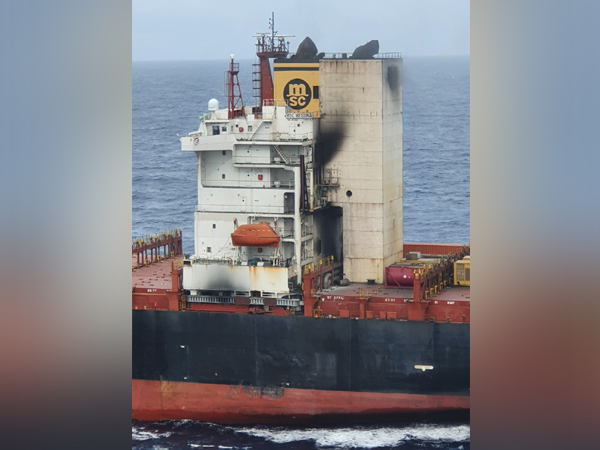 Container ship MSC Messina on fire (Twitter/Indian Coast Guard)
