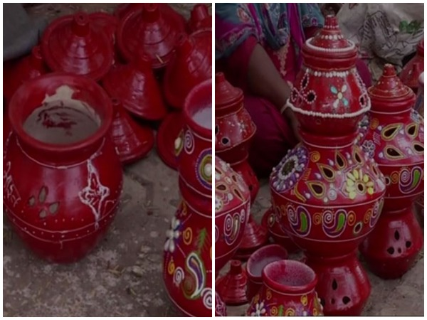 Ahead navratri festival,  clay pots are printed with the message of united India in Rajkot [Photo/ANI]