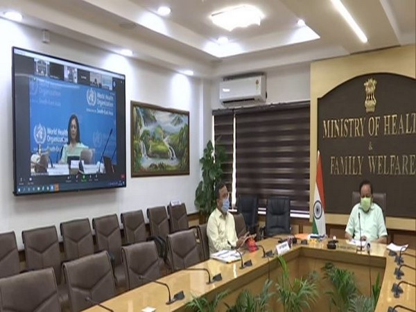 Union Health Minister Dr Harsh Vardhan addressing a virtual meeting with regional directors of WHO South-East Asia. (Photo/ANI)