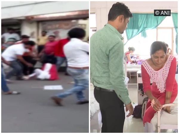 BJP MLA thrashing NCP woman leader / NCP leader Nitu Tejwani speaking to ANI