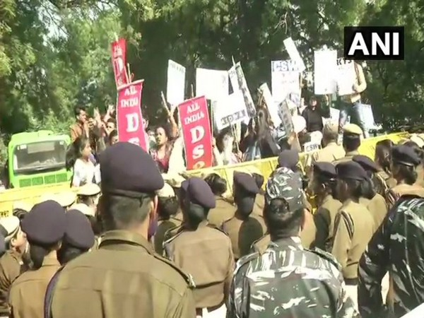 AIDWA and AIDSO members during their protest in New Delhi on Monday. Photo/ANI
