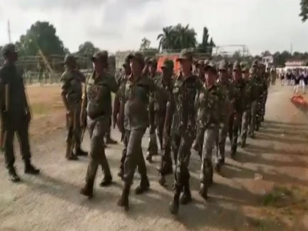 Women officers rehearsing for the Independence Day parade in Dantewada. Photo/ANI