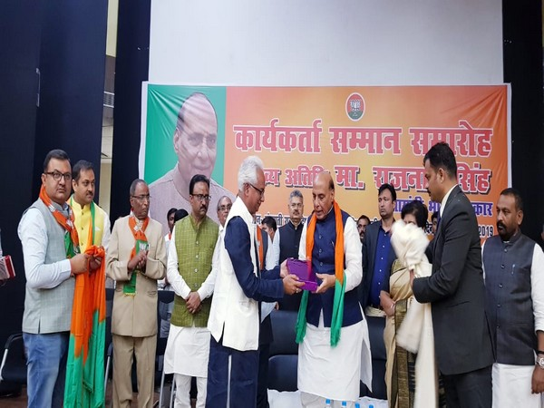 Union Defence Minister Rajnath Singh at the workers felicitation program in Lucknow on Saturday. Photo/ANI
