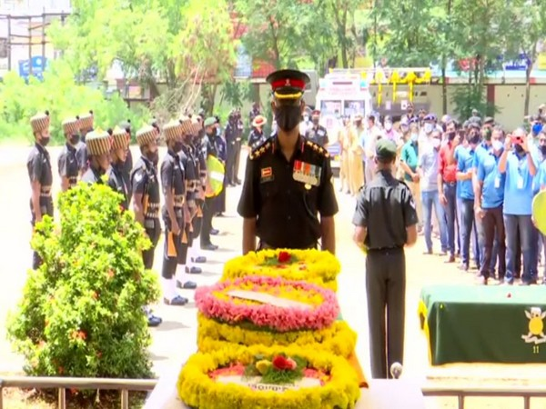 The wreath-laying ceremony of Naik Aneesh Thomas was conducted at the Thiruvananthapuram Airport on Thursday.