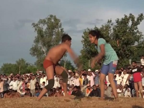 Jyoti a wrestler form Himachal Pradesh in the wrestling ring. Photo/ANI