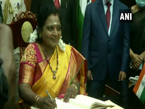 Tamilisai Soundararajan taking an additional charge as Lt Governor on Thursday. (Photo/ANI)