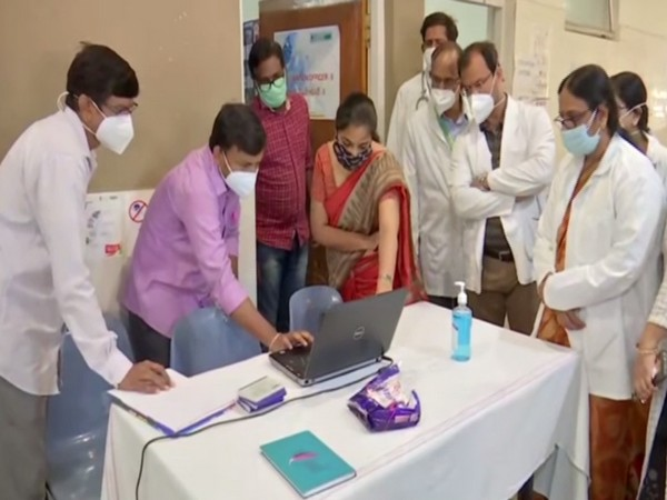Regional Program officer, Dr Sunitha inspects the vaccination drive (in red saree) (Photo/ANI)