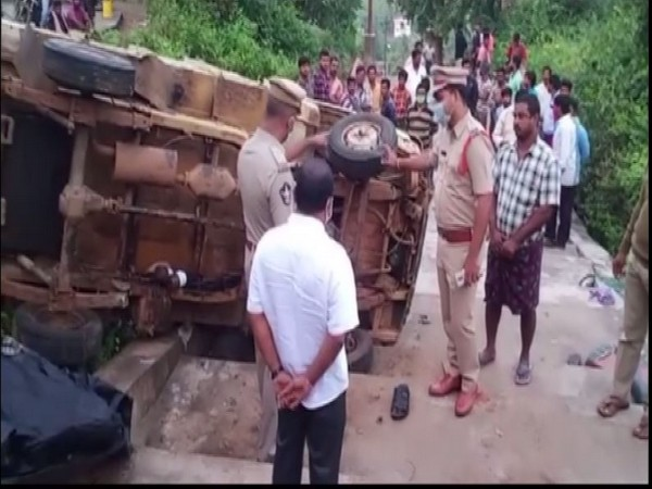 Visuals from accident site in East Godavari district. (Photo/ANI)