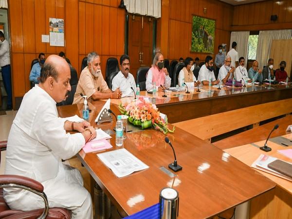 Karnataka CM Basavraj Bommai the meeting with ministers and senior officials. (Photo/ANI)