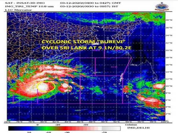 Cyclone storm Burevi over Sri Lanka (Photo: IMD)
