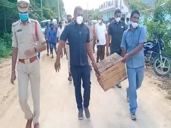 Vikarabad police carrying the seized explosives (Photo/ANI)