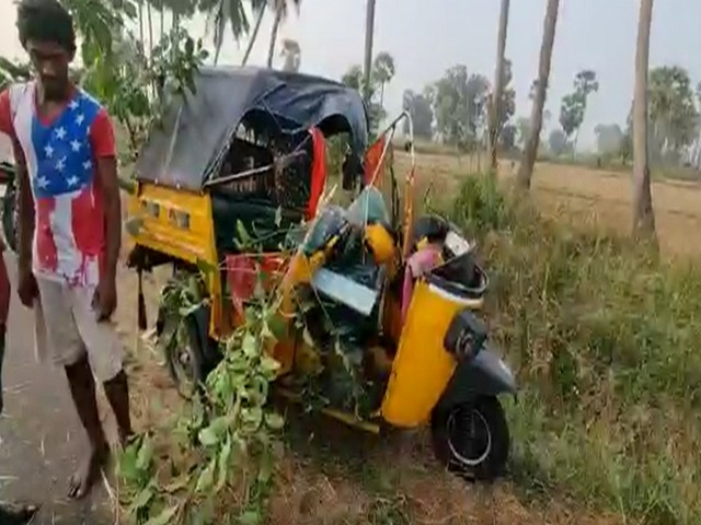 Visual of the damaged auto after the accident. (Photo/ANI)