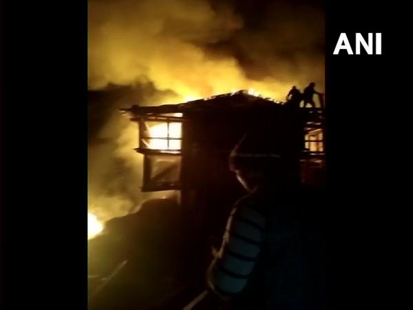Visual of fire in Raila village (Photo/ANI)