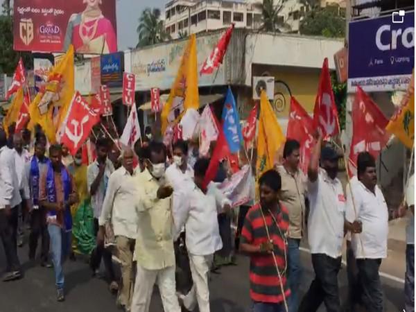 Bharat Bandh is underway peacefully in Andhra Pradesh's Krishna on Friday. [Photo/ANI]