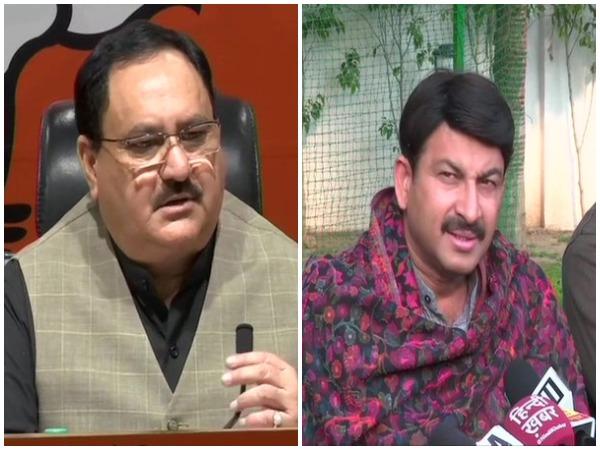 L to R: BJP national president Jagat Prakash Nadda and Delhi BJP chief Manoj Tiwari.
