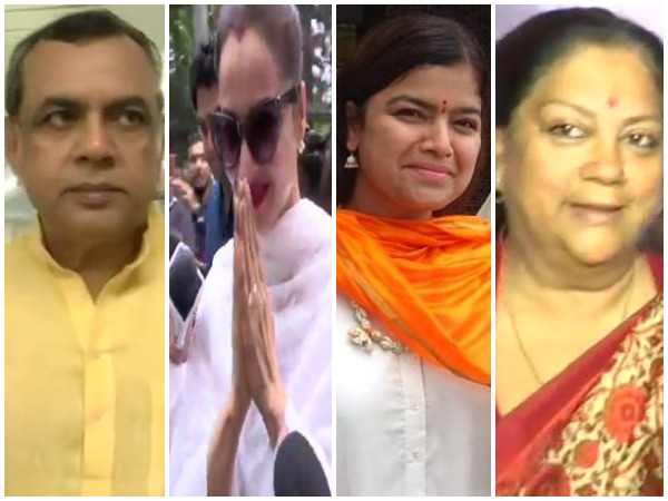 Actor-turned politician Paresh Rawal, actor Rekha, BJP leader Poonam Mahajan and former Rajasthan CM Vasundhara Raje at polling stations.