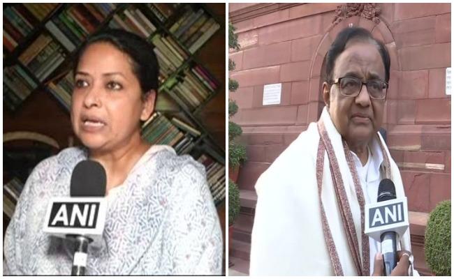 Congress leaders Sharmistha Mukherjee (L) and P Chidambaram (R)