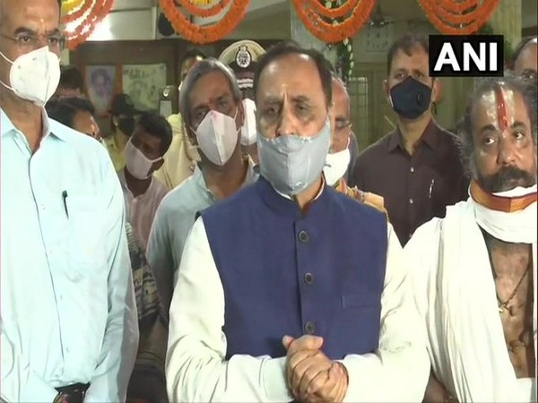 Chief Minister Vijay Rupani speaking to reporters in Ahmedabad on Monday.