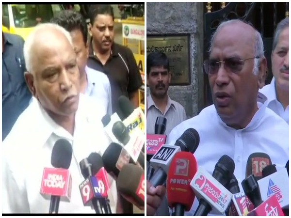 BJP leader BS Yeddyurappa (left) and Congress leader Mallikarjun Kharge (right) while speaking to media persons in Bengaluru, Karmataka on Sunday. Photo/ANI
