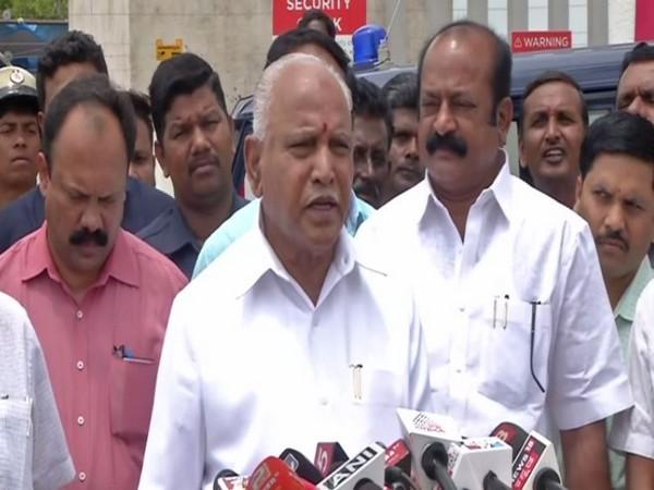 Karnataka BJP President BS Yeddyurappa speaking to reporters in Bengaluru on Sunday. Photo/ANI