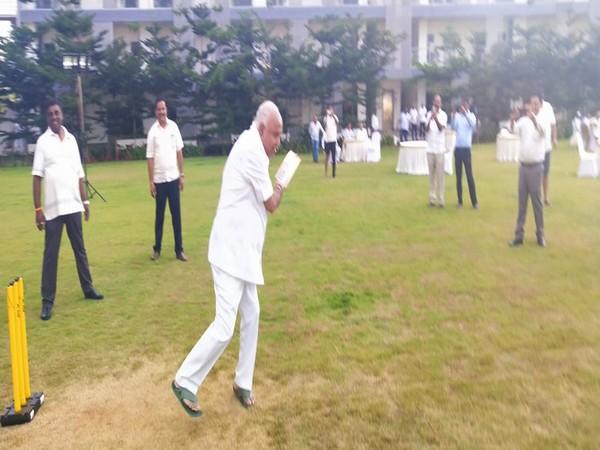 B S Yeddyurappa playing cricket with BJP MLAs at Ramada Resort in Bengaluru on Tuesday