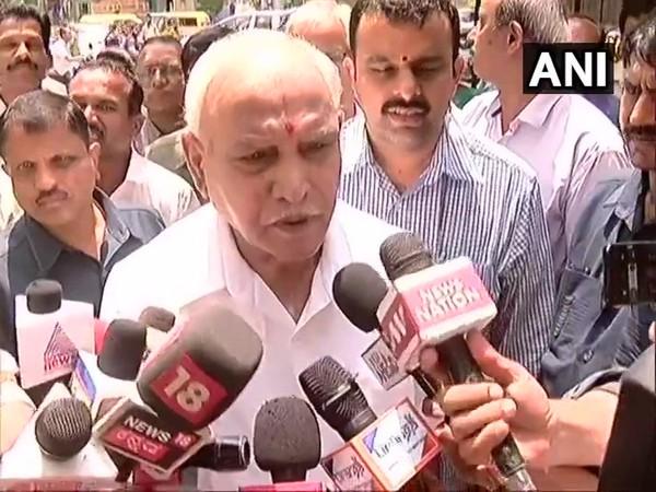 Karnataka BJP chief BS Yeddyurappa speaking to reporters in Bengaluru, Karnataka on Tuesday.