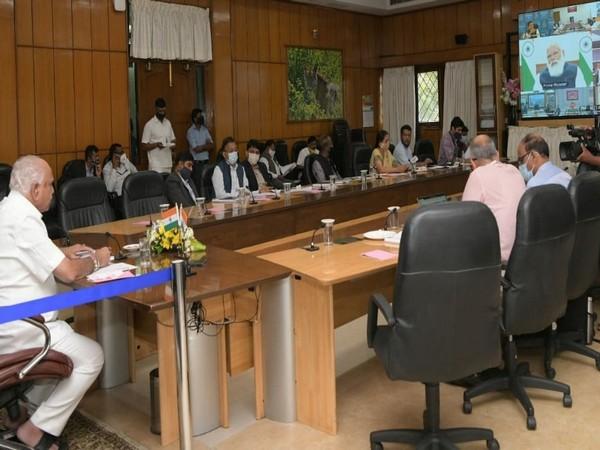 Visual from the meeting. (Photo: Twitter BS Yediyurappa)