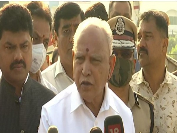 Chief Minister BS Yediyurappa speaking to media in Shivamogga on Sunday. (Photo/ANI)