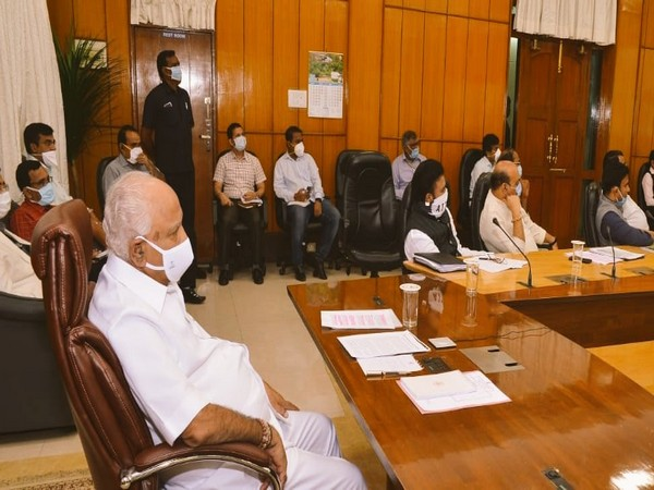 Karnataka Chief Minister BS Yediyurappa during the video conference with Prime Minister Narendra Modi on Saturday.