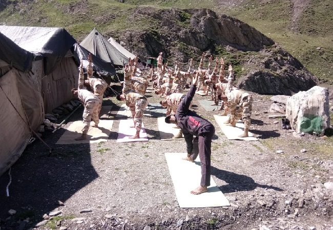 ITBP personnel practicing Yoga on Amarnath Yatra route in Baltal, Jammu and Kashmir.