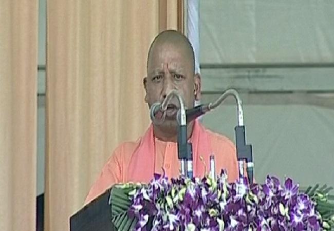 Uttar Pradseh Cief Minister Yogi Adityanath addressing a rally in Meerut on Thursday (Photo/ANI)