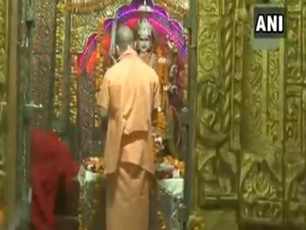 Uttar Pradesh Chief Minister Yogi Adityanath offering prayers in Balrampur on first day of Navratri. Photo/ANI