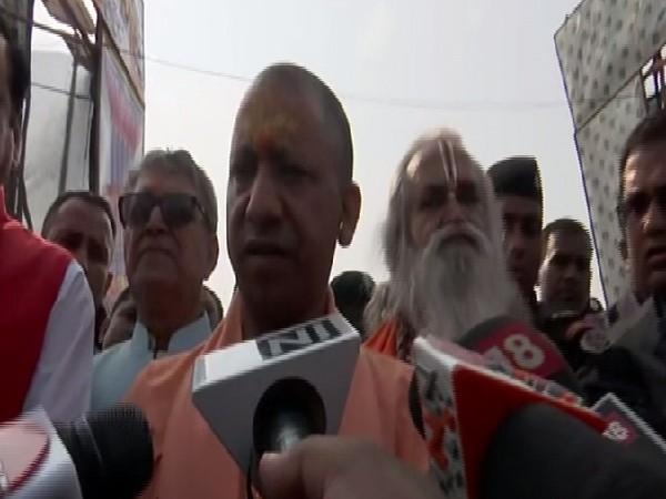Uttar Pradesh Chief Minister Yogi Adityanath speaking to media persons in Ayodhya on Sunday. Photo/ANI