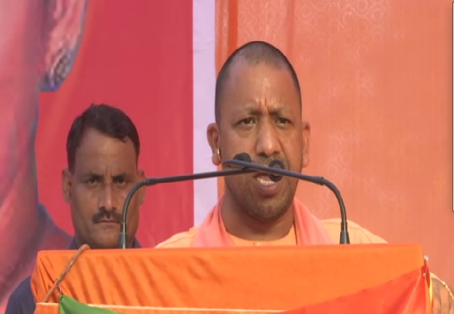 Uttar Pradesh chief minister Yogi Adityanath speaking at an election rally in Amethi, Uttar Pradesh on Tuesday Photo/ANI.