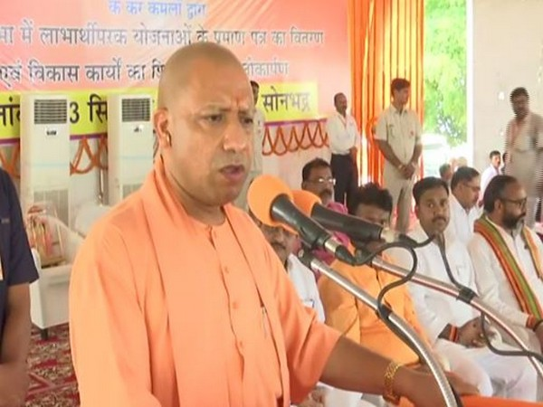 Uttar Pradesh Chief Minister Yogi Adityanath on Friday in Ubbha village. Photo/ANI