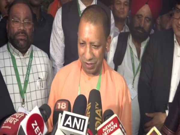 Chief Minister Yogi Adityanath speaking to reporters in Lucknow on Saturday. Photo/ANI