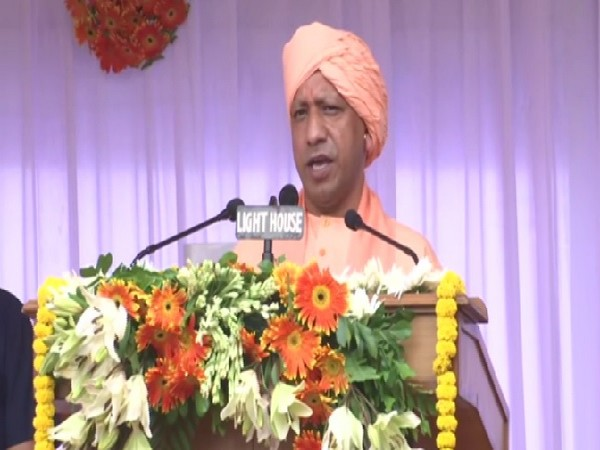 Uttar Pradesh Chief Minister Yogi Adityanath speaking at an event after hoisting the tri-colour in Lucknow on August 15. Photo/ANI