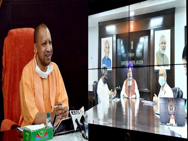 Uttar Pradesh Chief Minister Yogi Adityanath during the review meeting