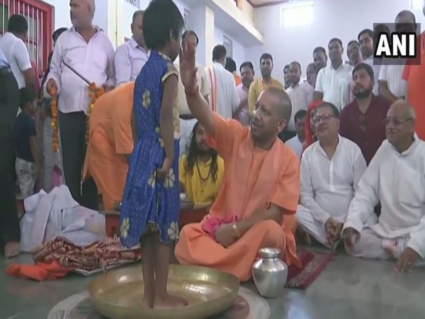 Chief Minister Yogi Adityanath performed 'Kanya Pujan' on Mahanvami at Gorakhnath Temple in Uttar Pradesh on Monday. Photo/ANI